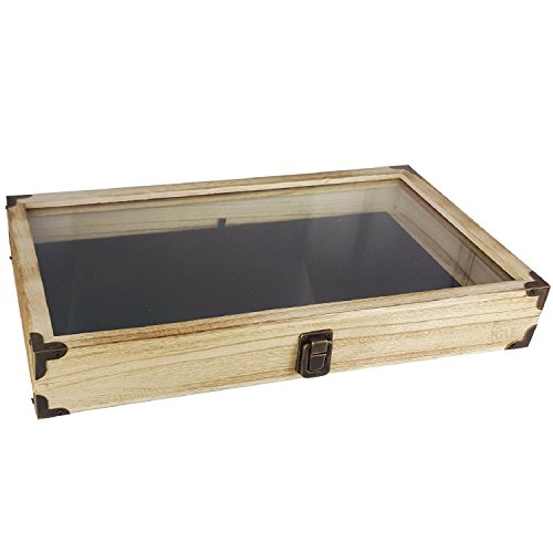 (Mooca Oak Color Wooden Tempered Glass Jewelry Display Case with Black Velvet Pad)