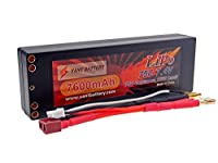 7.4V 7600mAh 2S Cell 75C-150C HardCase LiPo Battery Pack w/ Dual 4mm Bullet & Deans Ultra Connector