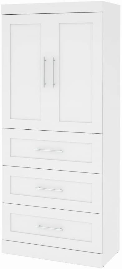 """Bestar 36"""" Storage Unit with 3-Drawer Set and Doors - Pur"""