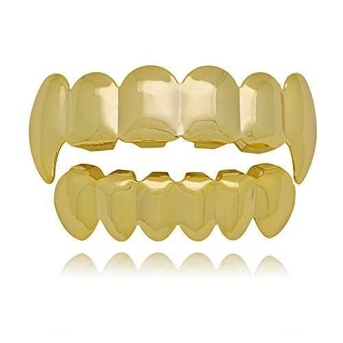 - LuReen 14k Gold Vampire Fangs Grills Caps 6 Teeth Top and Bottom Set (14k Gold)