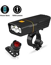 Sepper Luces para Bicicleta de montaña 1000 Lumen, USB Recargable, Power Bank, Linterna de Seguridad a Prueba de Agua para Ciclismo y Camping Senderismo etc