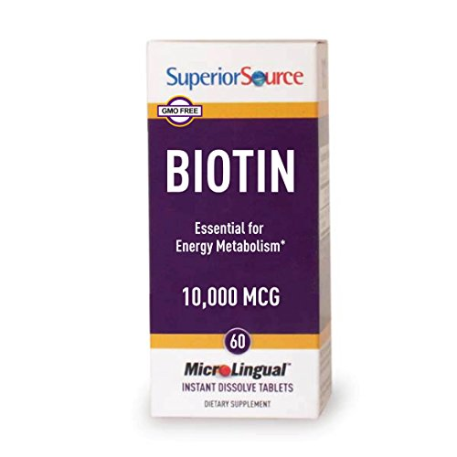 Superior Source Biotin 10,000mg Sublingual Instant Dissolve Tablets - Hair, Skin, and Nails Growth Vitamins - 60 Count