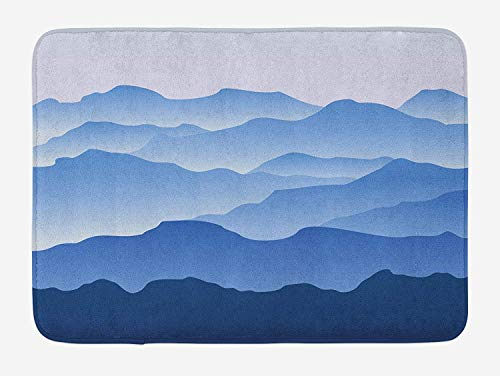 K0k2t0 Doormats Mountain Bath Mat, Nature Theme A Panoramic Silhouette of The Mountains in The Morning Illustration Print, Plush Bathroom Decor Mat with Non Slip Backing, 23.6 W X 15.7 W Inches, Blue