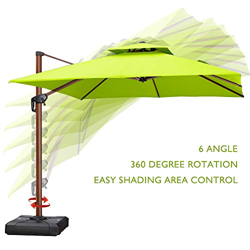 PURPLE LEAF 10 Feet Double Top Deluxe Wood Pattern Square Patio Umbrella Offset Hanging Umbrella Outdoor Market Umbrella Garden Umbrella, Lime Green