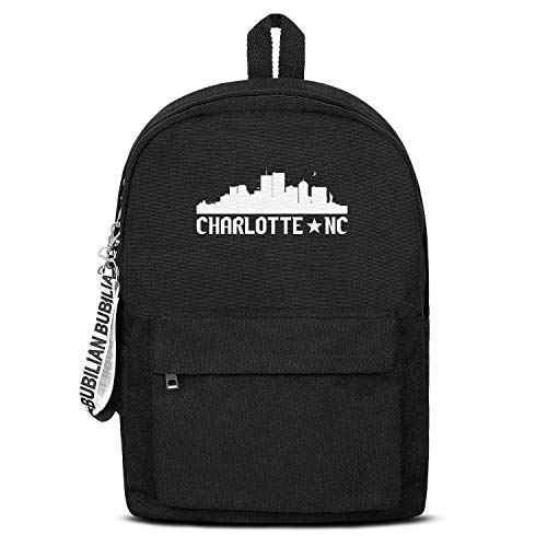 Charlotte North Carolina Skyline NC City Students' Convenient Black Letter Canvas School Backpack Laptop Bag