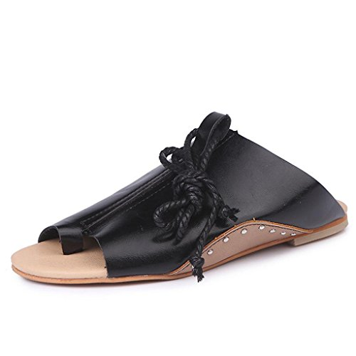 GBSELL Fashion Women Summer Rubber Leather Flat Roman Straps Wedges Shoes Sandals (Black, 7.5)