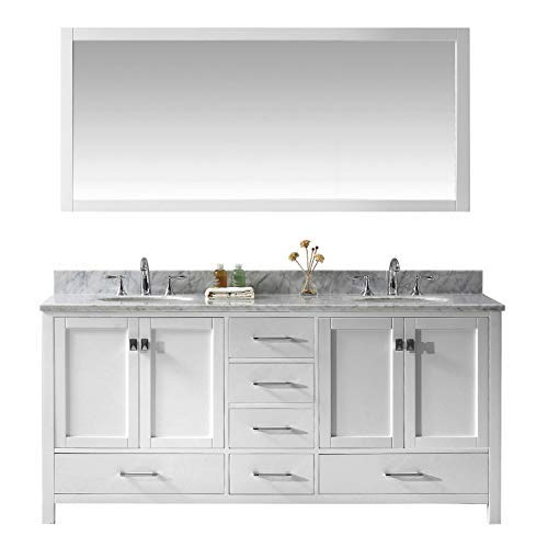 Virtu USA Caroline Avenue 72 inch Double Sink Bathroom Vanity Set in -