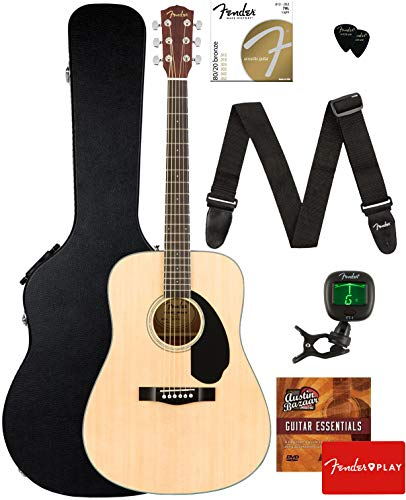 Fender CD-60S Dreadnought Acoustic Guitar - Natural Bundle with Hard Case, Tuner, Strap, Strings, Picks, Fender Play Online Lessons, and Austin Bazaar Instructional DVD ()