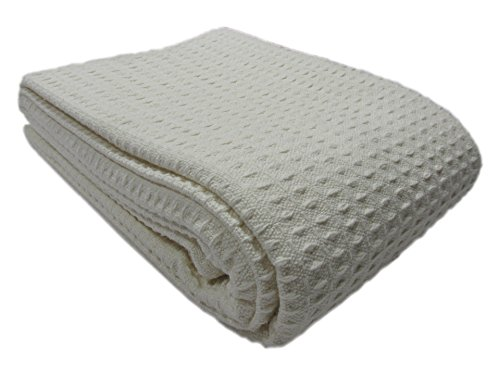 Cozy Bed - Santa Barbara Waffle Weave Cotton Blanket, Full/Queen, Ivory