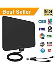 [2019 Latest] Amplified HD Digital TV Antenna 60-95 Mile Range.Support 4K HD VHF UHF Freeview Television Local Channels w/Detachable Signal Amplifier and 13.3ft Longer Coax Cable