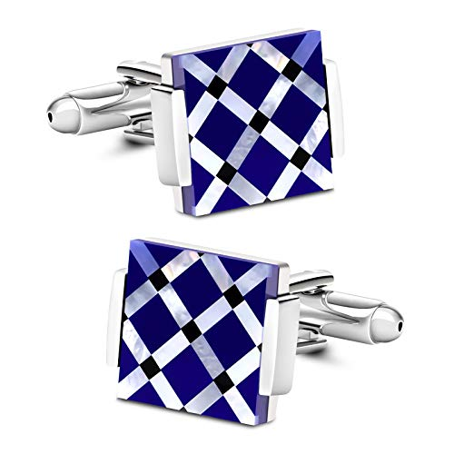 VIILOCK Business Wedding Mother of Pearl Cufflinks for Men Unique Onyx Stripe Tuxedo Cuff Links Mens