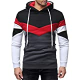 Software : kaifongfu Men Long Sleeve Tops, Outwear Hoodie Stitching Color Coat Jacket Sport Tops (Patchwork Black, L)