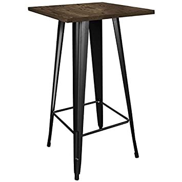 Loft Black Metal Pub Table With Wood Top