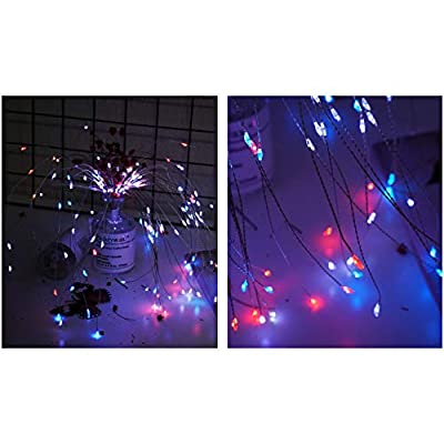 2 Pack 150 LED Fireworks Lights, Hanging Starburst Lights, Battery Operated Fairy String Lights with Remote Control for Christmas, Wedding, Party, Indoor, Outdoor (150 LED, Red, White, White, Blue) : Garden & Outdoor