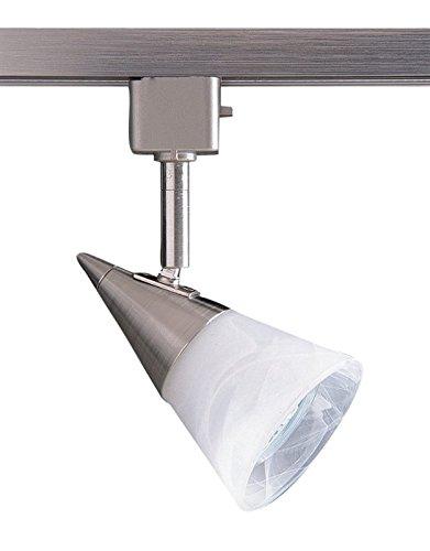 Kendal Lighting TLGU-2-SN   Designers Choice 1 Light 120V GU10 Track Head, Satin Nickel Finish and White Cone Glass Shade