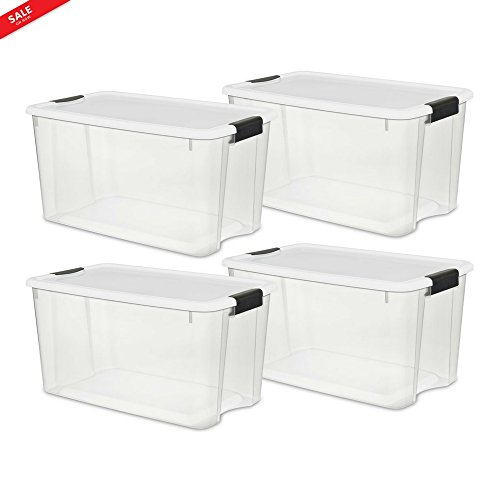 Big Plastic Storage Bins Two Durable Buckle-Up Latches 4 pieces Box Easy Viewing Organized Simple and Modern Style For Blankets Tools Games Clean And Dry & eBook by BADA shop by BS