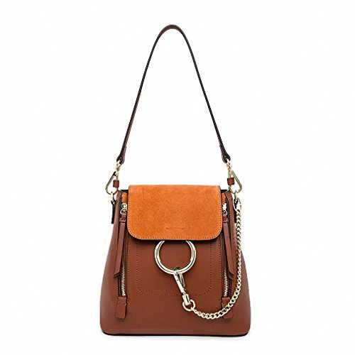 Women bag chain ring anello backpack double zip single shoulder compatible brand designer multifunctional portable bag brown S