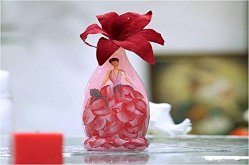 Hand Painted Glass Vase Rose Girl Glass Vase (Hand Painted Rose Vase)