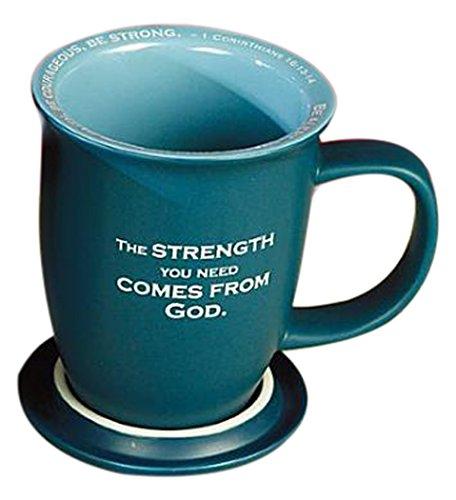 Abbey Gift Be Strong Mug and Coaster Set