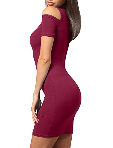 J. J. Lovny Women's Open Shoulder Short Sleeved Bodycon Party Dress Jlwdr82-burgundy Épaule Ouverte Femmes Lovny Robe À Manches Courtes Partie Moulante De Jlwdr82-bourgogne
