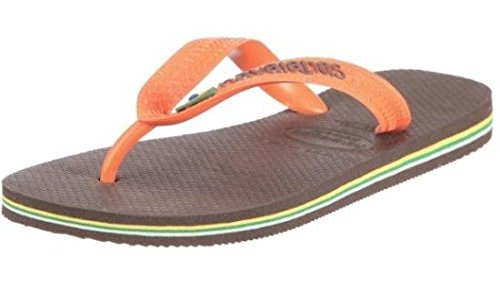 Havaianas Brasil Logo Marrón Naranja Hombres Mujeres Summer Unisex Beach Flip Flops