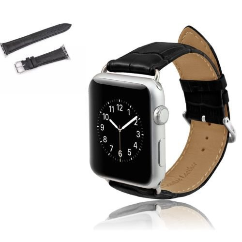 Genuine Crocodile Band (Apple Watch Band, HuanlongTM Luxury Crocodile Genuine Leather Watch Band for Apple Watch 38mm 42mm + Adapter (Black 42mm))