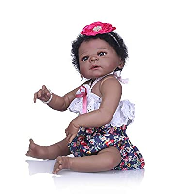 TERABITHIA 22 inch Cute African American Reborn Baby Doll,Little Bear Girl Doll Crafted in Silicone-Like Vinyl Full Body: Toys & Games
