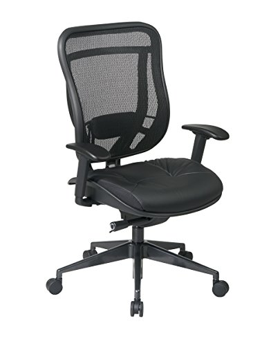 - SPACE Seating Breathable Mesh High Back and Padded Black Leather Seat, Ultra 2-to-1 Synchro Tilt Control, Seat Slider and Gunmetal Finish Executive Chair