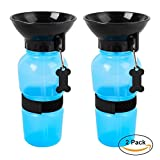 2 Pack Water Bottle for Pets,Portable Press Dog Water Bottle For Travel,Hiking,Walking,Cat Drink Bottle Bowl,Auto Dog Mug - Blue