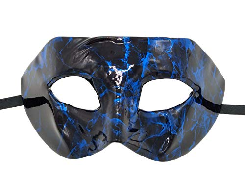 Coolwife Masquerade Mask Vintage Venetian Costume Mardi Gras Party Cosplay Ball Prom Mask (Leather Blue)