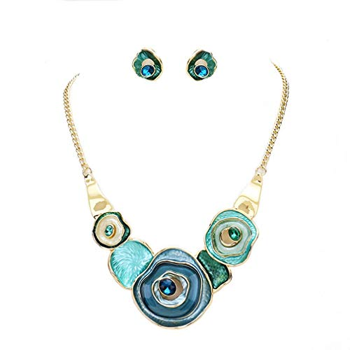 Urban Chic Women Fashion Jewelry Colored Resin Chunky Design Statement Necklace Earrings Set ()