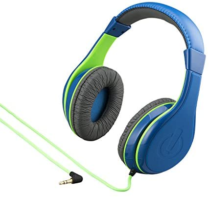 eKids Kids Headphones, Stereo Sound, 3.5mm Jack Cord, Wired Headphones for Kids, Tangle-Free, Volume Control, Childrens Headphones Over Ear for Travel