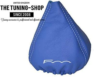 The Tuning-Shop Ltd For Fiat 500 2007-2015 Manual Shift Boot Black Leather With Blue 500 Edition