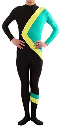 Marvoll Lycra Spandex Jamaican Bobsled Team Catsuit (Kids Large, Black) (Plus Size Female Superhero Costumes)