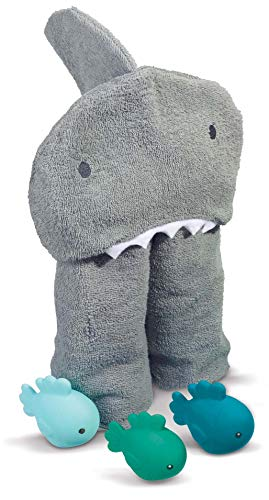 - Hooded Soft Baby Unisex Shark Towel With Floating Bath Fish Toy Set, One Size