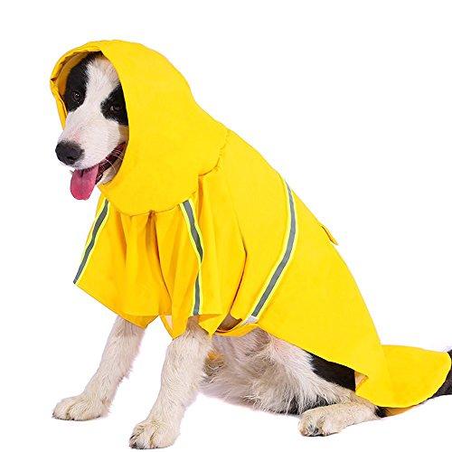 (Dog Raincoat Leisure Waterproof Lightweight Dog Coat Jacket Reflective Rain Jacket with Hood for Small Medium Large Dogs(Yellow,XXL))
