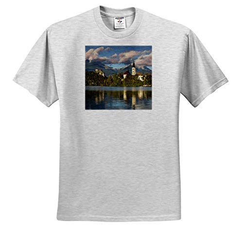 3dRose Danita Delimont - Slovenia - St. Marys Church on Bled Island with Bled Castle, Slovenia - Toddler Birch-Gray-T-Shirt (3T) (ts_313882_32)