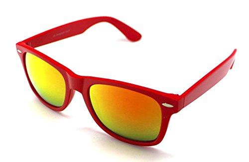 Rojo Wayfarer Hombre Sol Sunglasses de Mujer Gafas Espejo x0P1qBwYg