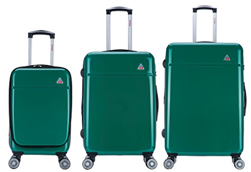(InUSA Luggage Set 3 Piece 20'',24'', 28'' inch Green -Collection Avila - Lightweight hardside spinner )