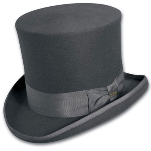 Scala Classic Hat (Top Hat Victorian SCALA Tuxedo Mad Hatter 100% Wool GRAY XL)