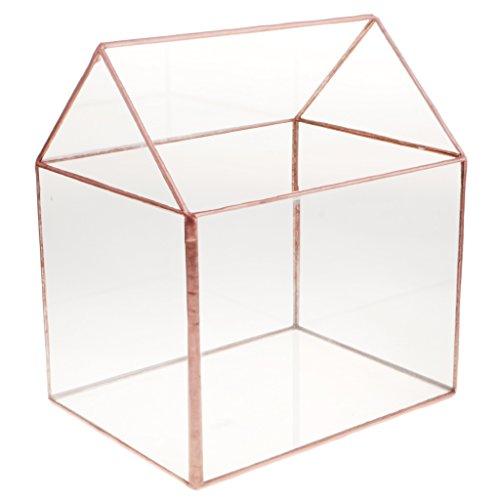 Glass Card Holder - Fenteer Vintage Glass House Terrarium Geometric Succulent Planter Wedding Decorative Card Box Candle Holder - Bronze, 22x15x19cm