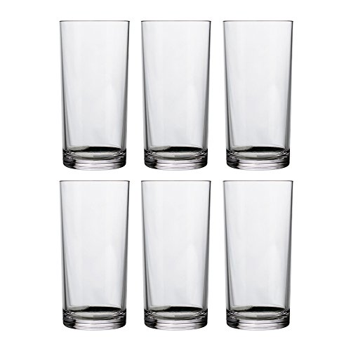 Classic 16-ounce Premium Quality Plastic Water Tumbler | Clear Set of 6 Clear Plastic Tumblers