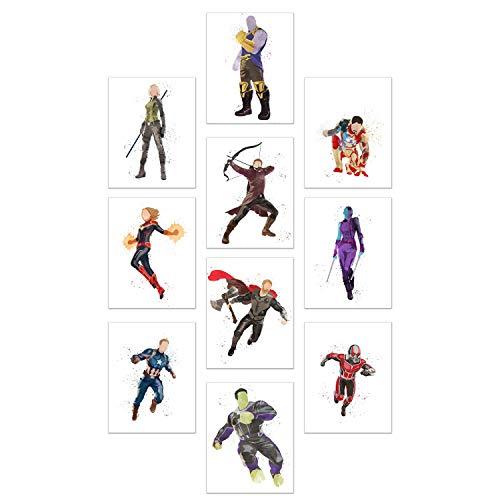 Watercolor Avengers End Game Poster Prints - Set of 10 (11x14) Glossy Marvel Wall Art - Captain Marvel - Black Widow - Captain America - Thanos - Nebula - Antman - Thor - Hulk - Hawkeye - Iron Man