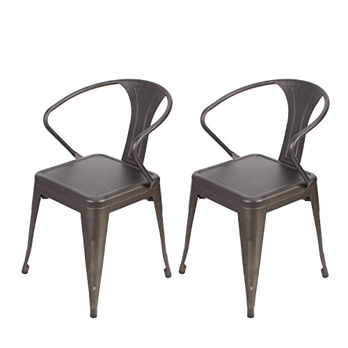 Joveco Vintage Industrial Chic Style Metal Stackable Curved Armrest Chairs, Set of 2 Bronze