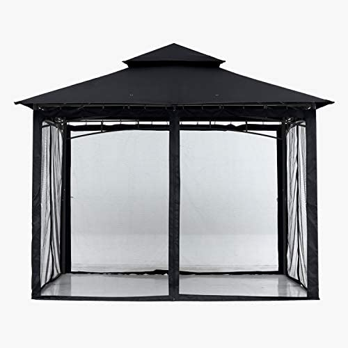 ABCCANOPY 9x9 Patio Gazebos for Patios Double Roof Soft Canopy Garden Gazebo with Mosquito Netting for Shade and Rain, Black