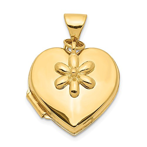 14k Yellow Gold 15mm Heart Flower Dangle Photo Pendant Charm Locket Chain Necklace That Holds Pictures Fine Jewelry Gifts For Women For Her