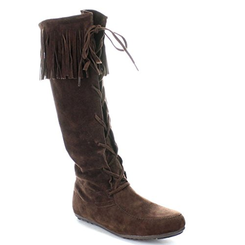 Forever Baylee-09 Women's Fashion Fringe Lace Up Knee High Boots (6, Brown) Brown Suede Fringe Boots