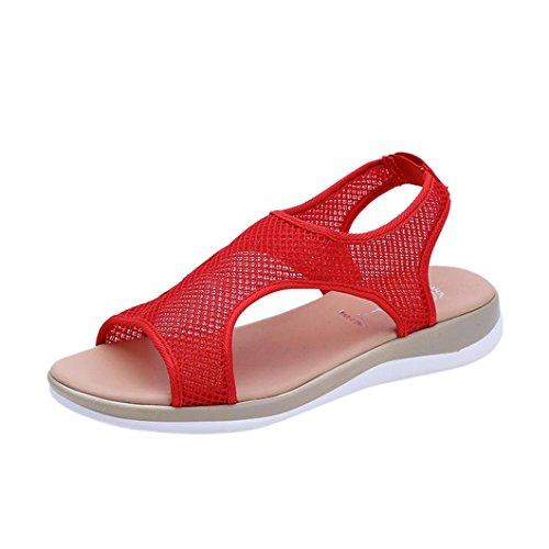 Ansenesna Sandalen Damen Sommer Flach Offen Romeinse Sommerschuhe Stoff Atmungsaktiv Strand Outdoor Schuhe Rot