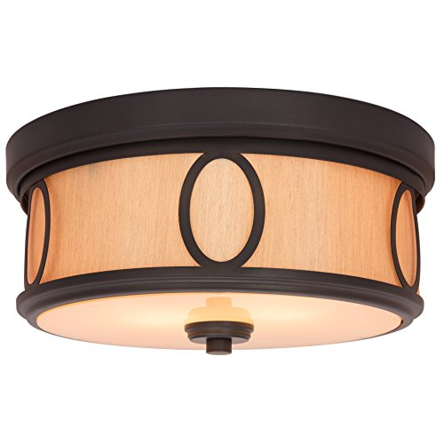 Kira Home Simone 13.5'' Round 2-Light Flush Mount Ceiling Light with Glass Diffuser, Oil-Rubbed Bronze Finish by Kira Home
