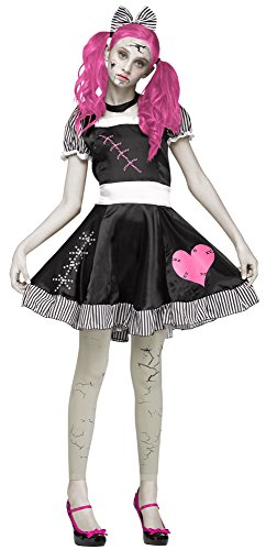 Broken Doll Adult Costumes (Broken Doll Gothic Teen Costume, Black / White / Pink, Teen)
